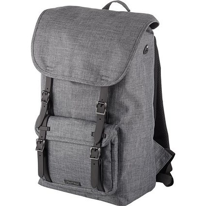 Lightpak Rider Backpack with 15in Padded Laptop Compartment Polyester Grey