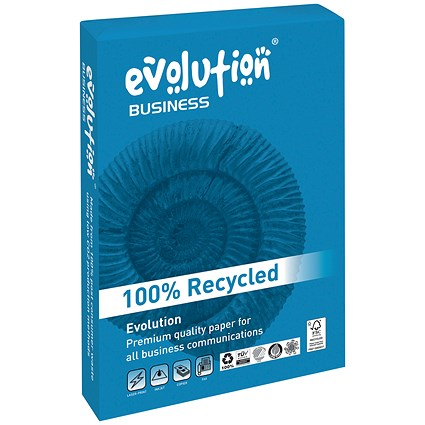 Evolution Business A4 Recycled Paper, White, 90gsm, Ream (500 Sheets)