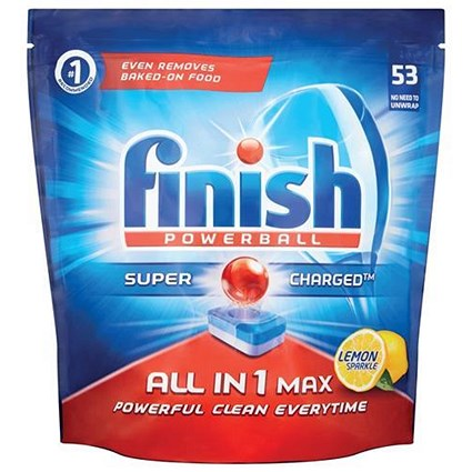 Finish Powerball Dishwasher Tablets All-in-1, Lemon sparkle, Pack of 53