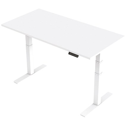 Trexus Height-adjustable Desk / White Legs / 1600mm / White