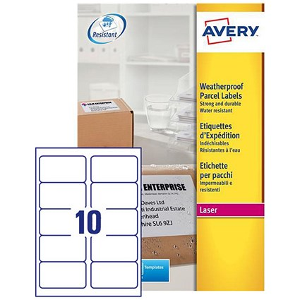 Avery Weatherproof Laser Shipping Labels 10 Per Sheet