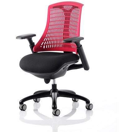 Trexus Flex Task Operator Chair, Black Seat, Red Back, Black Frame