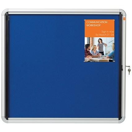 Nobo Indoor Noticeboard with Lockable Glazed Case / Fabric / 6xA4 / W692xH752mm / Blue