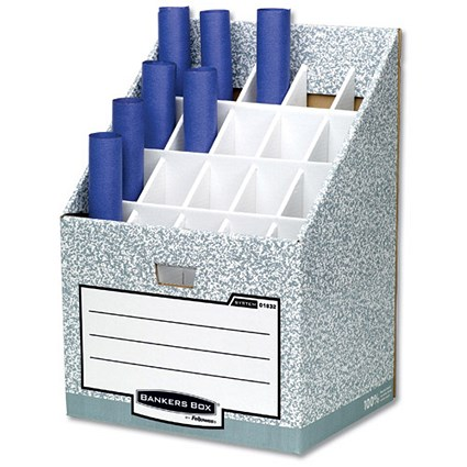 Bankers Box by Fellowes / System Roll Stor Stand for Rolled Documents / Grey-White