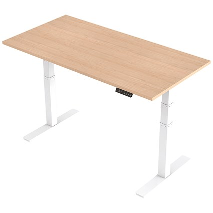 Trexus Height-adjustable Desk / White Legs / 1600mm / Maple