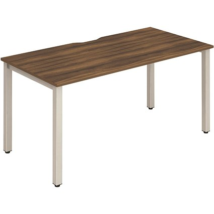 Trexus 1 Person Bench Desk, 1200mm (800mm Deep), Silver Frame, Walnut