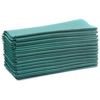 Maxima 5053 C-Fold Hand Towels, 1-Ply, Green, 15 Sleeves
