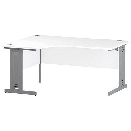 Trexus 1600mm Corner Desk, Left Hand, Cable Managed Silver Legs White