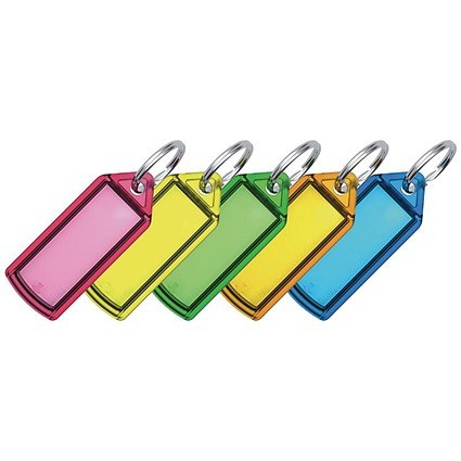 5 Star Key Hanger Sliding with Fob Label Area 25x20mm Small Tag 45x28mm Assorted [Pack 100]