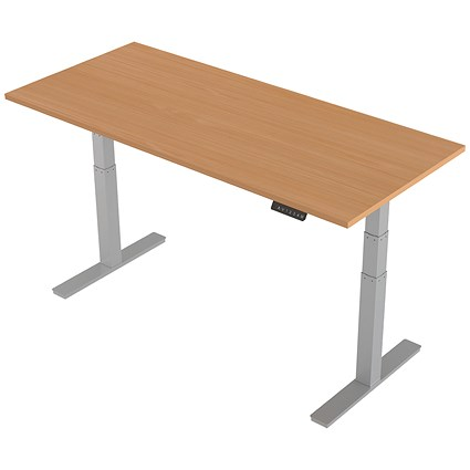 Trexus Height-adjustable Desk / Silver Legs / 1800mm / Beech