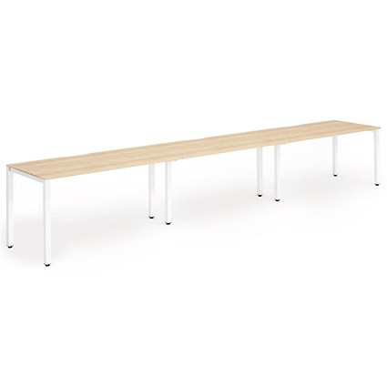 Trexus 3 Person Bench Desk / 3 x 1400mm (800mm Deep) / White Frame / Maple