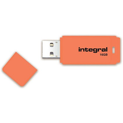 Integral Neon 2.0 USB Drive, 16GB, Orange