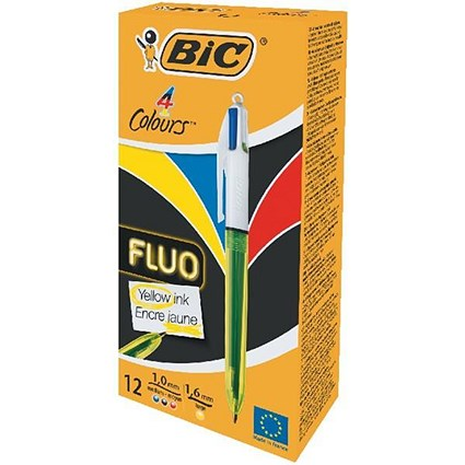 Bic 4 Colour Fluo Ballpoint Pen / Black, Blue, Red & Yellow Ink / Pack of 12