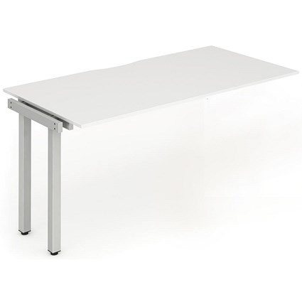 Trexus 1 Person Bench Desk Extension / 1400mm (800mm Deep) / Silver Frame / White