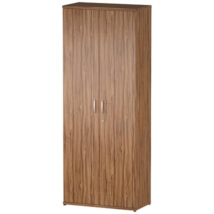 Trexus Tall Office Cupboard, 4 Shelves, 2000mm High, Walnut