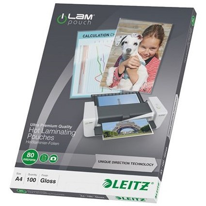 Leitz A4 Laminating Pouches / Thin / 160 Micron / Glossy / Pack of 100