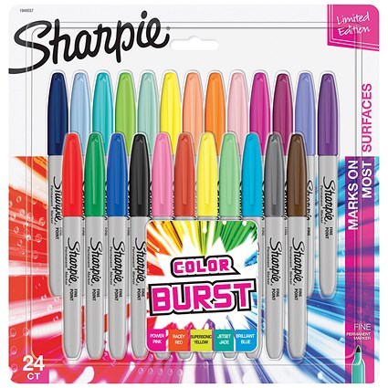 Sharpie Colour Burst Permanent Marker, Fine, Assorted, Pack 24