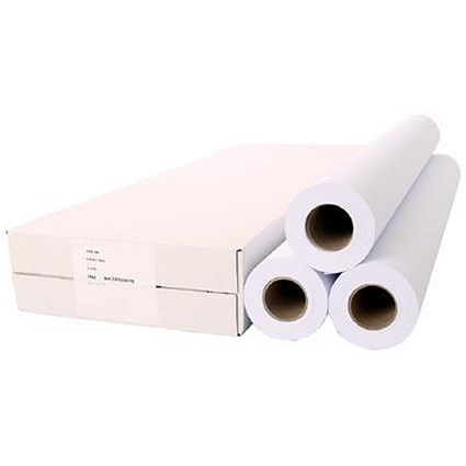 White Plotting Paper Roll / 914mm x 50m / 90gsm / Pack of 3
