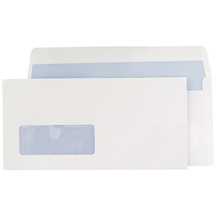 Blake DL Premium Office Wallet Envelopes with Window, Peel & Seal, 120gsm, Ultra White Wove, Pack of 500
