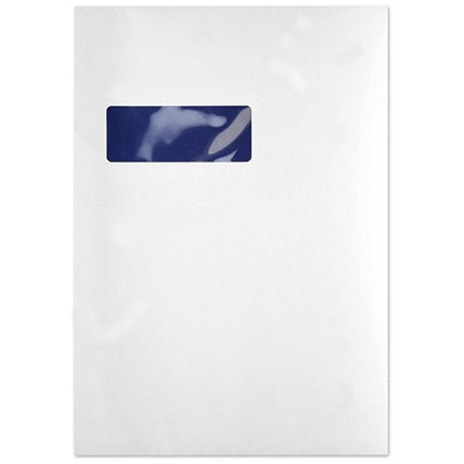 Blake C4 Premium Pure Pocket Envelopes with Window, Peel & Seal, 120gsm, Super White Wove, Pack of 250