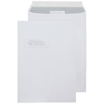 Blake C4 Purely Environmental Pocket Envelopes with Window, Peel & Seal, 110gsm, White, Pack of 250