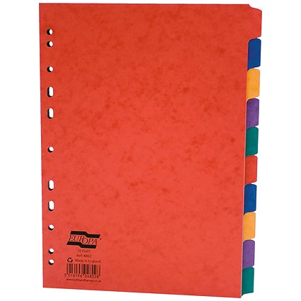 Europa Subject Dividers / 10-part / A4 / Assorted