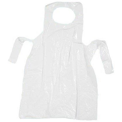 Aprons On Roll Polythene 17 Micron 27x46in White [Roll of 200]