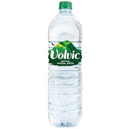 Volvic Natural Mineral Water - 12 x 1.5 Litre Plastic Bottles