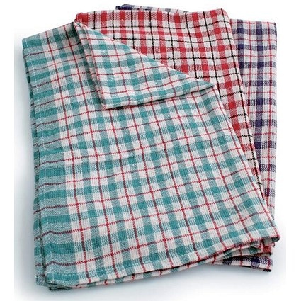 Tea Towels, Chequered, Pack of 10