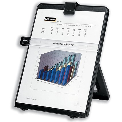 Fellowes Workstation Copyholder Easel with Line Guide / Capacity 10mm / A4 / Black