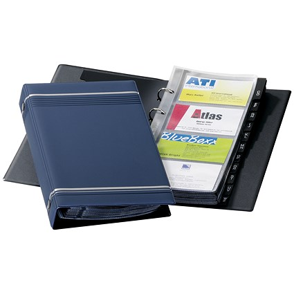 Durable Visifix Business Card Album / W145xH255mm / 4-ring / A-Z Index / Capacity: 200 Cards / Dark Blue