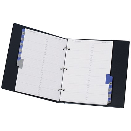 Telephone Index and Address Book Binder with Matching A-Z Index and 20 Sheets, A5, Black