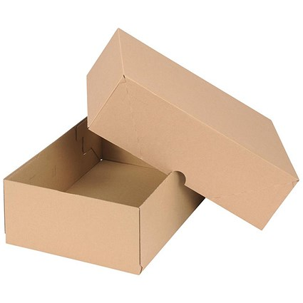 Self Locking Box Carton and Lid / A4 / 305x215x100mm / Brown / Pack of 10