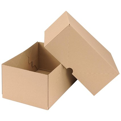 Self Locking Box Carton and Lid / A4 / 305x215x150mm / Brown / Pack of 10