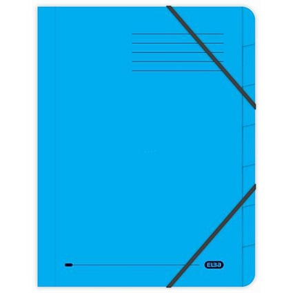Elba Boston Elasticated Files / 7-Part / Foolscap / Blue / Pack of 5