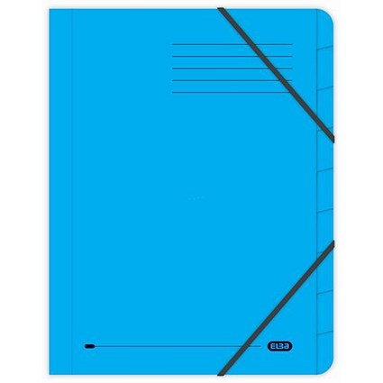 Elba Boston Elasticated Files / 9-Part / Foolscap / Blue / Pack of 5