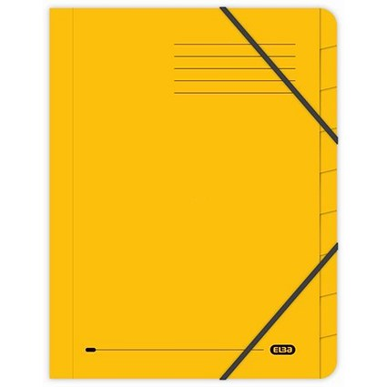 Elba Boston Elasticated Files / 9-Part / Foolscap / Yellow / Pack of 5