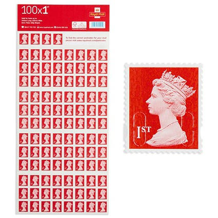 Royal Mail 1st class postage stamps – 100 per pack