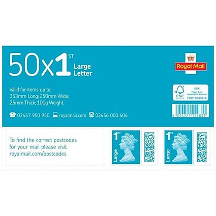 Royal Mail 1st class postage stamps for large letters – 50 Per Pack | Paperstone