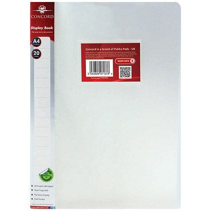 Concord Display Book / 20 Pockets / A4 / Clear / Pack of 12