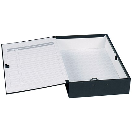 Concord Classic Box File / 75mm Spine / Foolscap / Black / Pack of 5