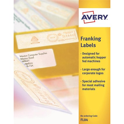 Avery FL04 Auto Franking Labels, 1 per Sheet, 140x38mm, White, 1000 Labels
