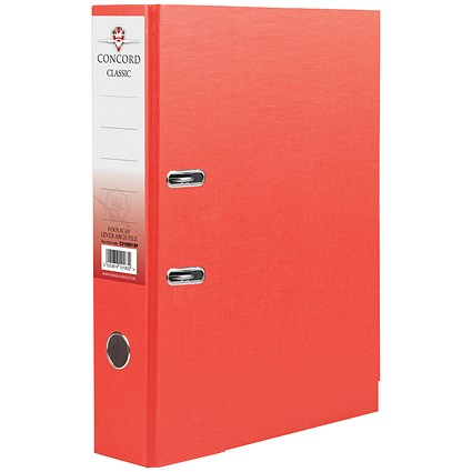 Concord Classic A4 Lever Arch Files / Printed Lining / Red / Pack of 10
