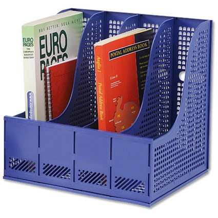 Storage Rack for Lever Arch Files with 4 Sections - Blue