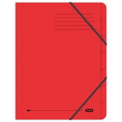 Elba Boston Elasticated Files / 7-Part / Foolscap / Red / Pack of 5