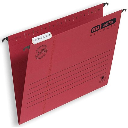 Elba Verticflex Ultimate Suspension Files / V Base / 15mm Capacity / Foolscap / Red / Pack of 25