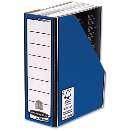 Fellowes Bankers Box Premium Magazine File / Fastfold / A4+ / Blue & White / Pack of 10