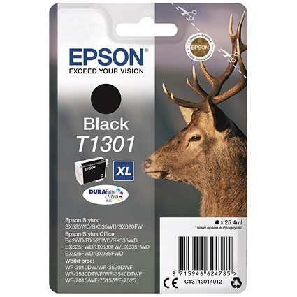 Epson T1301 XL Black DURABrite Inkjet Cartridge