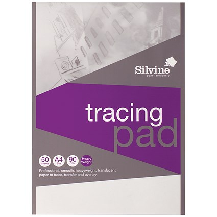 Silvine Tracing Pad / A4 / Acid Free / 90gsm / 50 Sheets