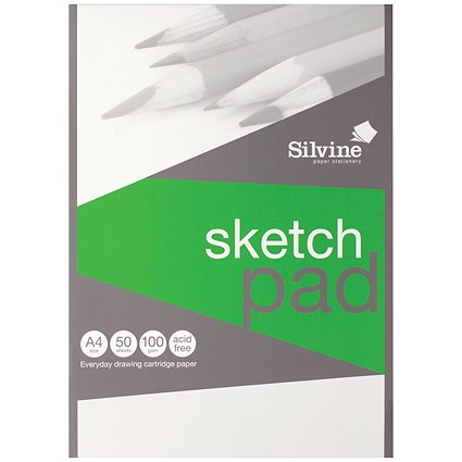Silvine Drawing Pad, A4, Acid Free, 100gsm, 50 Sheets